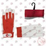 перчатки  25см кожа ладонь + х/б тыл., бело-красные, манжет на липучке Intertool