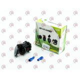 гнездо врезное 2 USB   1A+2,1A, 12-24В, крышка, с вольтметром и подсветкой зеленой