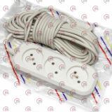 удлинитель электрический колодка  10м,  6А, 3 гнезда, ПВС